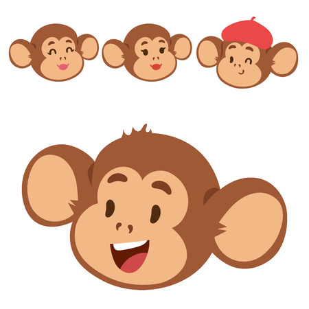 Monkeys rare animal vector cartoon macaque head like people nature primate character wild zoo ape chimpanzee illustration.