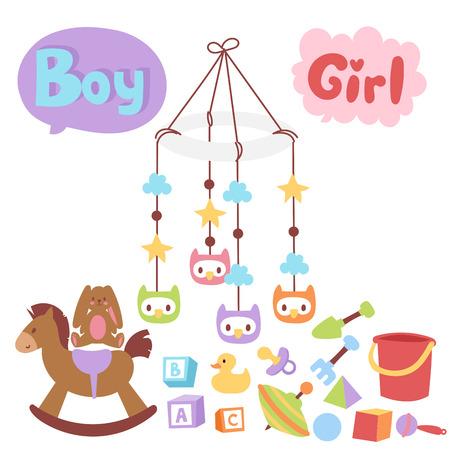 Babyspielwarenikonenkarikaturfamilienkinderspielzeugshop entwerfen nette Jungen- und Mädchenkindheitskunstwindel, die grafische Liebesgeklapper-Spaßvektorillustration zeichnet. Vektorgrafik