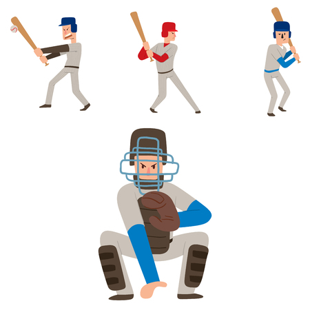 Baseball team player vector sport man in uniform game poses situation professional league sporty character winner illustration. Illustration