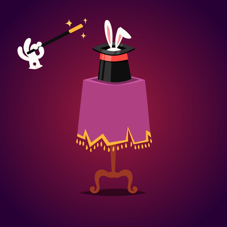Magic effect trick vector table symbol magician tools and surprise entertainment magical fantasy carnival mystery cartoon miracle decoration illustration.