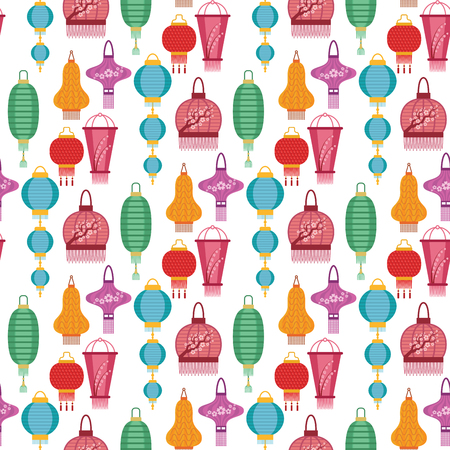 Chinese lantern light paper holiday celebrate asian graphic celebration lamp seamless pattern background vector illustration.