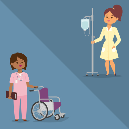 Doctor nurse character vector medical woman staff flat design hospital team people doctorate illustration.