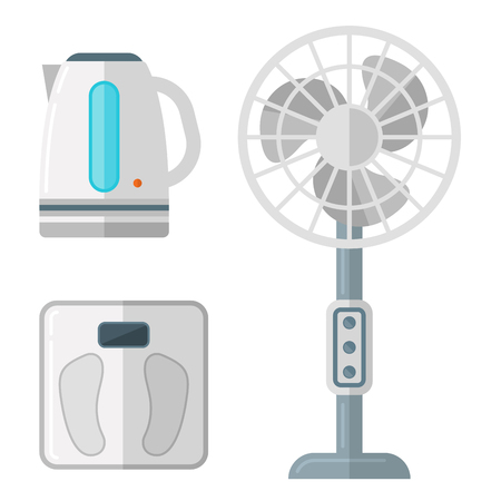 Home appliances vector domestic household equipment kitchen electrical domestic technology for homework tools illustration Vectores