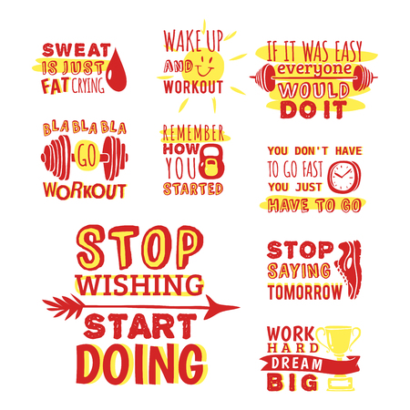 Sport motivational logo vector design hand drawn element banner gym crossfit trainings motivation text lettering illustration.