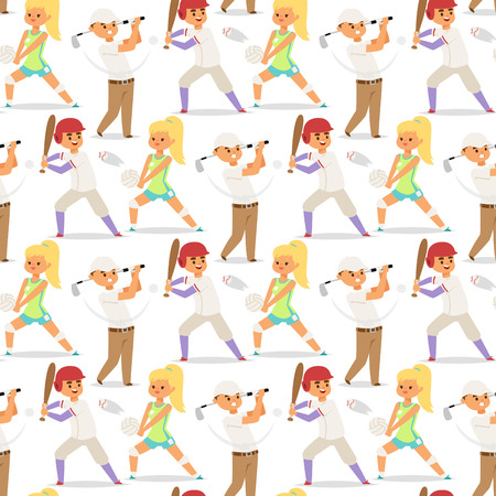 Sport wellness vector people characters sporting man activity woman sporty athletic illustration. Active fitness exercise healthy person training sport people characters seamless pattern background.