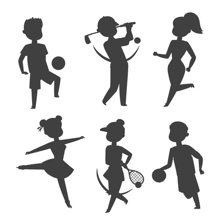 Sport wellness vector people characters silhouette sporting man activity woman sporty athletic illustration. Active fitness exercise healthy person training sport people characters.