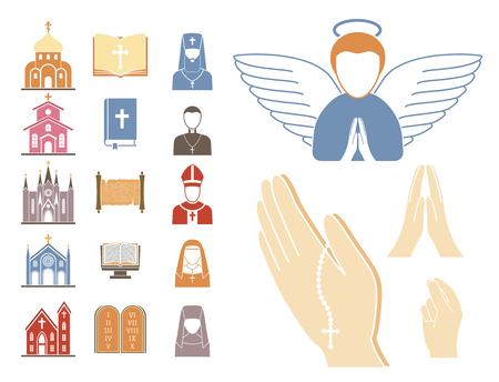 Christianity religion vector religionism flat icons illustration of traditional holy sign silhouette praying religionary design christian faith religionist priest church traditional culture symbol.