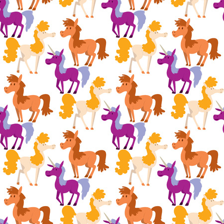 Horse pony stallion vector breeds color farm equestrian mammal domestic animal mane zoo character illustration. Cartoon pet design horseback mare many horse pony style seamless pattern background. 스톡 콘텐츠 - 99611375