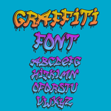 グラフィティアルファベットベクトルハンド描かれたグランジフォントペイントシンボルデザインインクスタイルテクスチャタイプセット  イラスト・ベクター素材