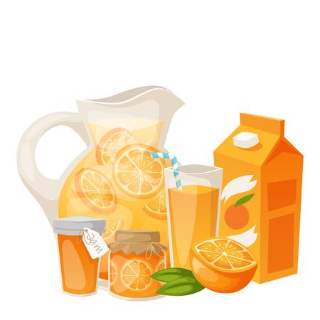 Sinaasappelen en oranje producten vector illustratie. Verse natuurlijke citrusvruchten vector set. Sappige tropische dessert schoonheid ontbijtcollectie. Organisch sap gezond sinaasappels eten.