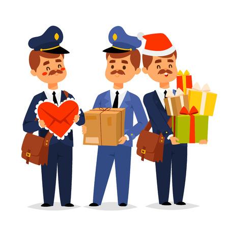 Postman delivery man character vector courier occupation carrier package. Mail shipping deliver professional people with envelope. Delivery boy service delivering mailmen postman conveyance. Ilustração