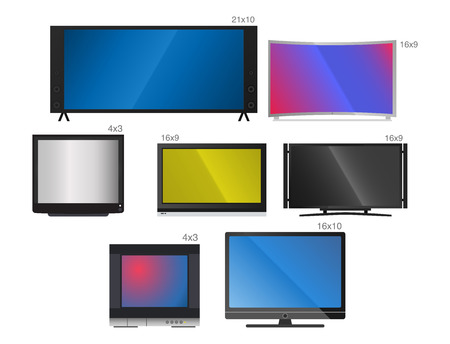 TV vector screen lcd monitor and other electronic devices illustration
