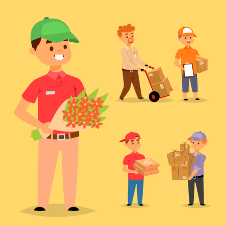 Delivery man boy vector service workers and clients couriers delivering man characters shop mailmen bringing packages holding boxes documents illustration. Postman worker male conveyance Banque d'images - 100053441