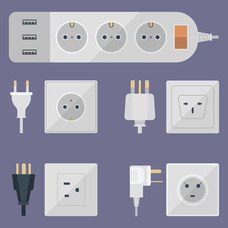 Electrical outlet plug illustration Vettoriali