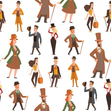 Vintage victorian cartoon retro people vector. Men  and women's victorian clothing style 일러스트