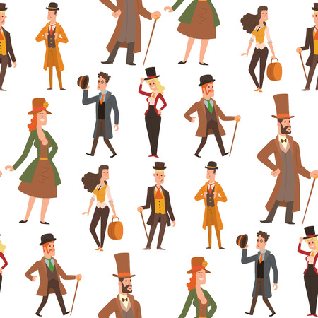 Vintage victorian cartoon retro people vector. Men  and women's victorian clothing style Ilustração