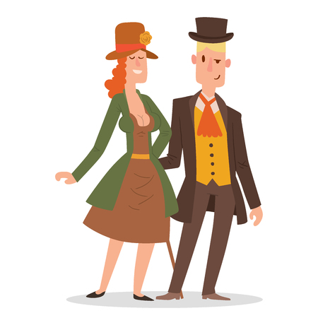 A couple wearing a victorian style clothing illustration Stock Illustratie