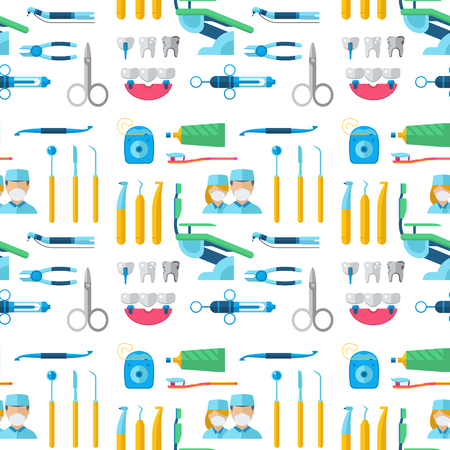 Dentists with stomatology equipment illustration