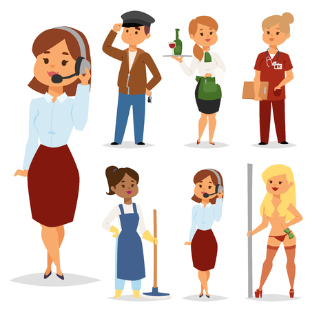 People part-time job professions vector set characters temporary job recruitment concept. Different workers or time unemployed. Young career start boys and girls part time workers opportunity looking.