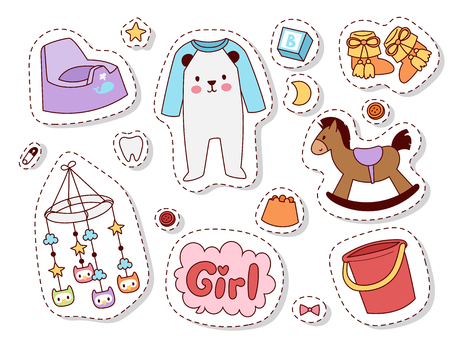 Baby toys patches cartoon family kid toyshop design cute boy and girl childhood art diaper drawing graphic love rattle fun vector illustration collection.
