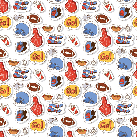 American football player action sport athlete uniform accessory success playing tools vector illustration. Winning professional competition sports equipment seamless pattern background.