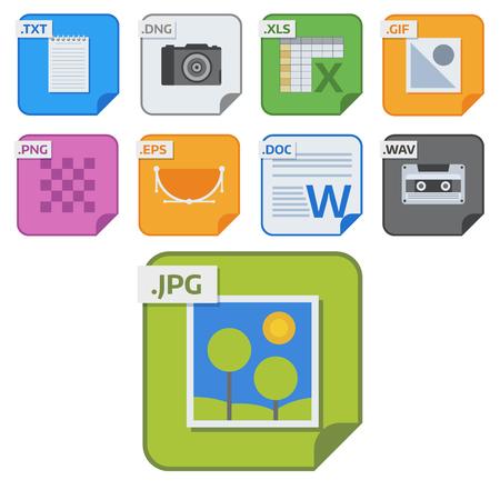 File types vector icons and formats labels file system icons presentation document symbol application software folder illustration. Archive, illustration. picture image, print. Ilustração