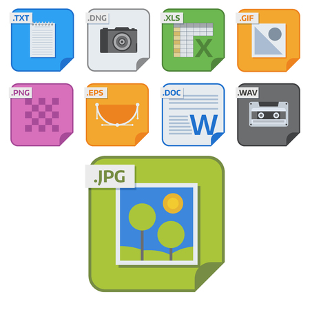 File types vector icons and formats labels file system icons presentation document symbol application software folder illustration. Archive, illustration. picture image, print. Illustration