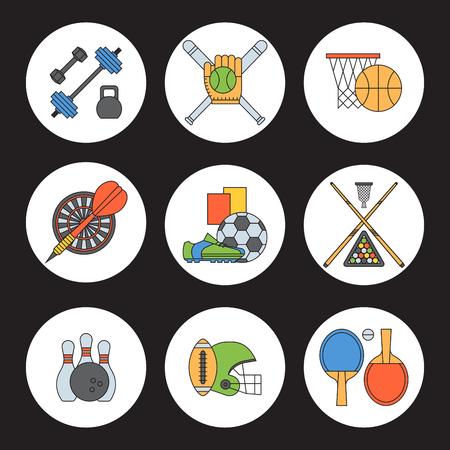 Set of sport vector icons in flat design line pictogram fitness sportsmen symbol game trophy competition dumbbell activity illustration. Basketball, football, hockey, golf Stock Illustratie