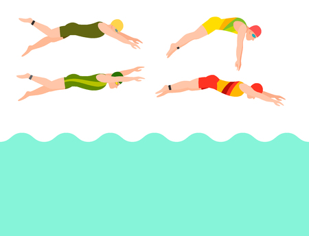 Swimming vector people style scheme different swimmers man and woman in pool sport pose people exercise illustration