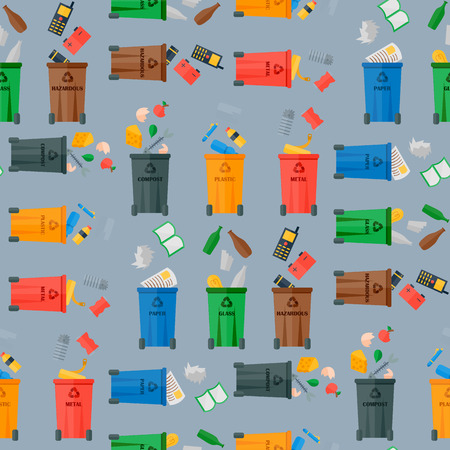 Recycling garbage waste sorting processing seamless pattern background treatment remaking trash utilize icons vector illustration.  イラスト・ベクター素材