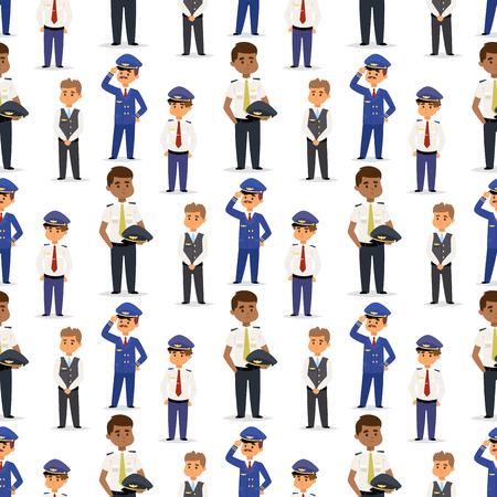 Pilotes et hôtesse de l'air illustration vectorielle personnage de la compagnie aérienne avion personnel personnel hôtesse de l'air hôtesses de l'air commandent sans soudure de fond.
