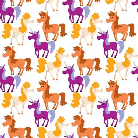 Horse pony stallion breeds color farm equestrian mammal domestic animal mane zoo character illustration.