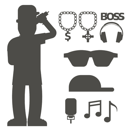 Hip hop man accessory musician vector accessories silhouette microphone breakdance expressive rap modern young fashion person adult people illustration. Hip hop dancer trendy lifestyle urban rapper.