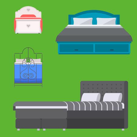Sleeping furniture vector design bedroom exclusive bed and interior room comfortable home relaxation apartment decor illustration. Luxury night bedding sleep hammock.