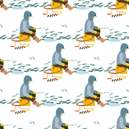 Fishing fishermen vector catches fish fisher threw rod into water, happy people fisherman holds catch and spin, man pulls net out of the river, fishing on ice character seamless pattern background