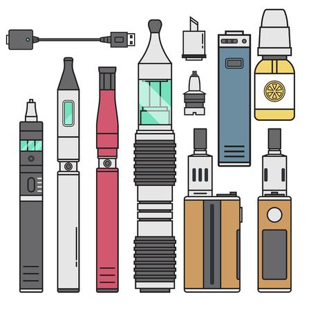 Vape device vector cigarette vaporizer vapor juice vape bottle flavor illustration battery coil. Trend new culture electronic nicotine liquid. Smoking vape atomizer device e-liquid. 写真素材 - 99872947