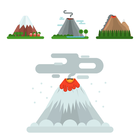 Volcano magma vector nature blowing up with smoke crater volcanic mountain hot natural eruption earthquake. Erupt ash volcano fire hill landscape outdoor geology exploding ash.