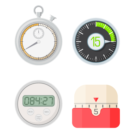 Timer clocks vector watch stopwatch countdown symbol hour illustration time sign minute second design alarm chronometer. Chronometer isolated circle button timer clocks vector set.