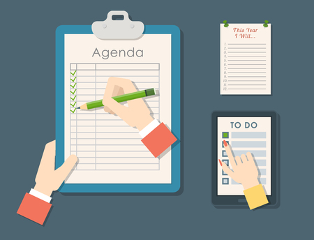 Agenda list vector business paper clipboard in flat style self-adhesive checklist notes schedule calendar planner organizer article illustration. Make wishlist and shopping list plan to do just. Illustration