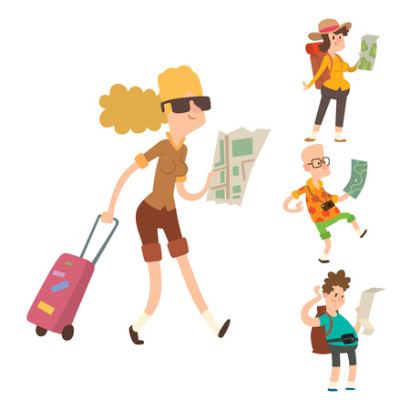 Traveler people searching right direction on map vector traveling freedom and active lifestyle concept. Smiling people with map attractive journey happy character illustration.