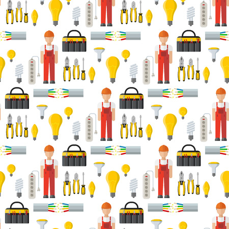 Energy electricity power battery vector collection industrial electrician voltage socket technology warning lightning equipment. Industrial power station seamless pattern background.