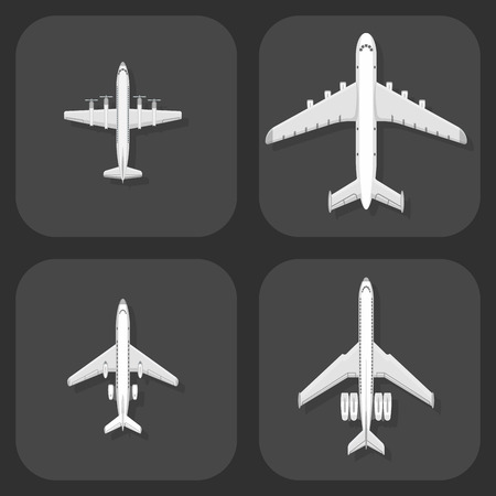Airplane vector illustration top view plane and aircraft transportation travel way design journey object. Иллюстрация