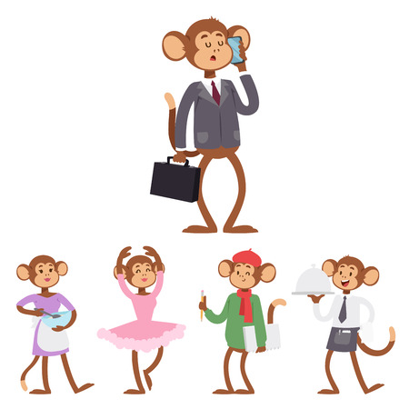 Monkeys rare animal vector cartoon macaque like people nature primate character wild zoo ape chimpanzee illustration. Фото со стока - 100112855