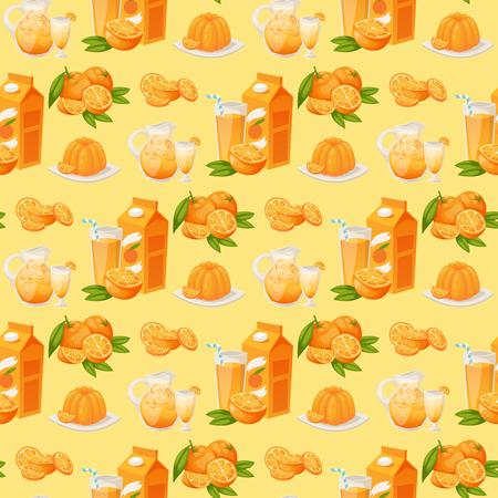 Orangen und orange Produkte Vektor-Illustration natürliche Zitrusfrüchte Obst saftig saftig Dessert Cartoon gesunde saftige Lebensmittel nahtlose Muster Hintergrund Standard-Bild - 99942696