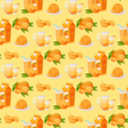 Oranges and orange products vector illustration natural citrus fruit vector juicy tropical dessert beauty organic juice healthy food seamless pattern background. Ilustração