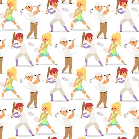 Sport wellness vector people characters sporting man activity woman sporty athletic seamless pattern background illustration. Illustration