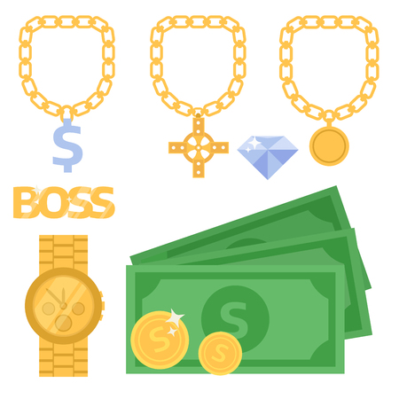 A Jewelry icons gold vector gemstones precious accessories fashion money illustration beauty pendant symbol necklace accessory. Stock Illustratie
