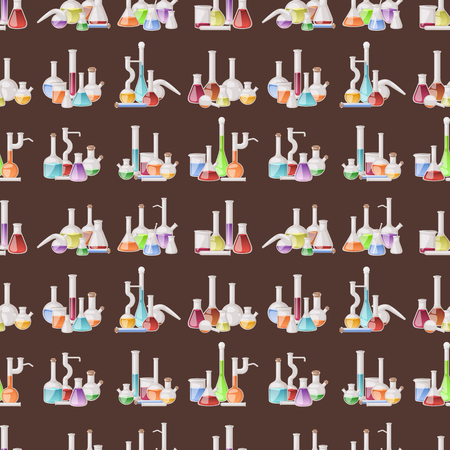 Chemical flask laboratory vector lab glassware tube liquid biotechnology analysis tubes medical scientific equipment seamless pattern background. Archivio Fotografico - 99942709