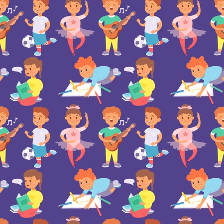 Children playing vector different types of home games little kids play summer outdoor active leisure childhood activity seamless pattern background. Illustration