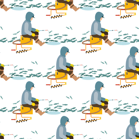 Fishing fishermen vector catches fish fisher threw rod into water catch and spin, man pulls net out of the river character seamless pattern background illustration